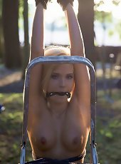 Blonde slut is humiliated in rope bondage